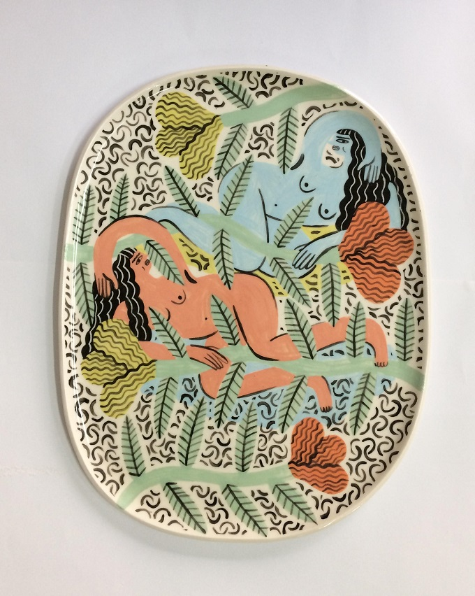Relaxing Girls Large Plate - Laura Bird