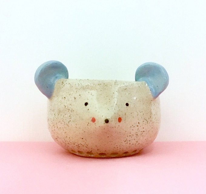 Rodney the Mouse Face planter - Sonra Clay