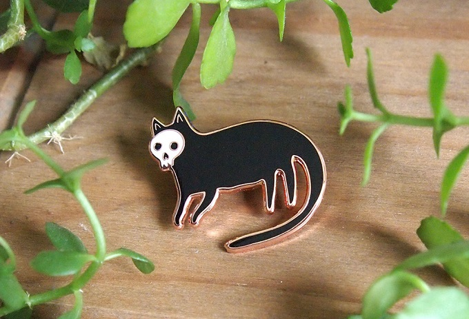 Skull Cat Enamel Pin - I Like Cats Shop