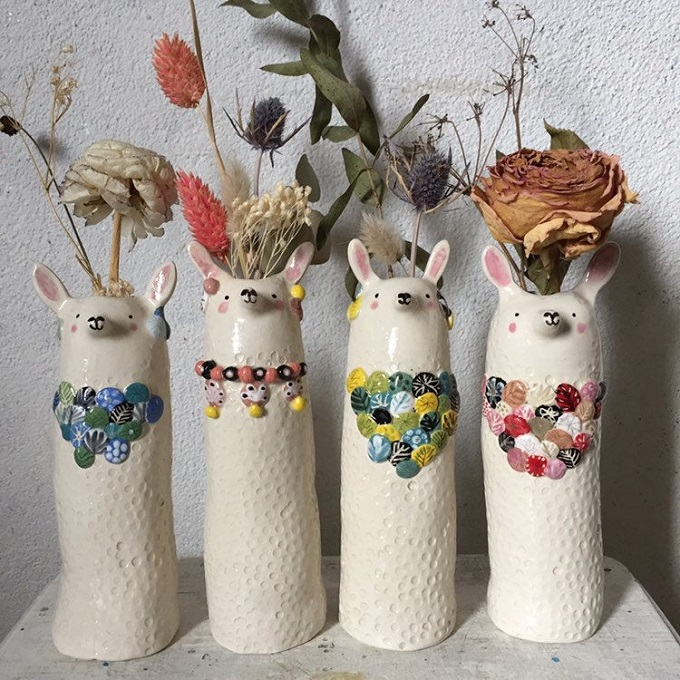Llama ceramic flower holder by Solenn Larnicol