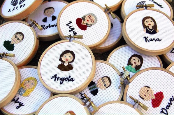 Embroidered portrait by Stitch Folks