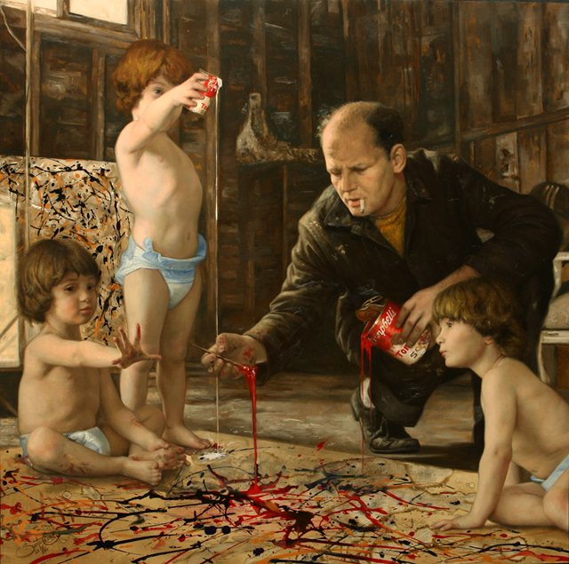 The Master's Studio, by Cesar Santos. Oil on Canvas.
