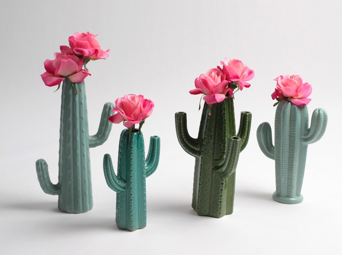 Cactus Vases / White Faux Taxidermy