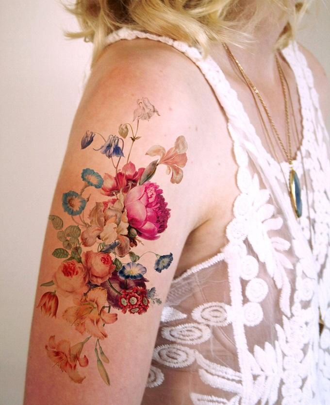 Vintage Floral Temporary Tattoo - Tattoorary