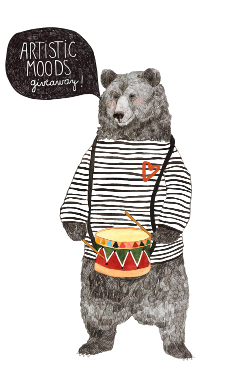 Daniela Dahf Henriquez bear illustration for Art Blog ArtisticMoods Giveaway Contest