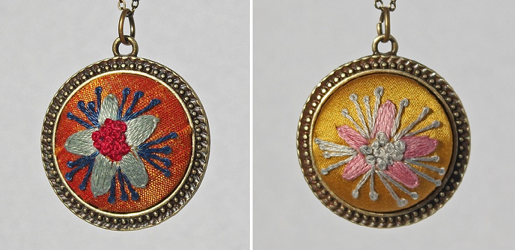 Embroidered Pendants by Cecilia Leibovitz